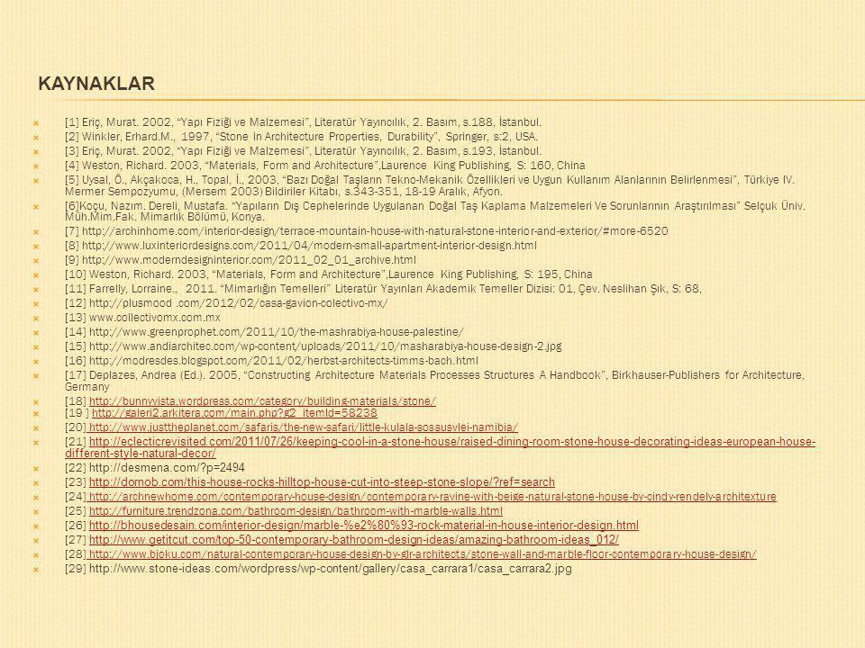 Kaynaklar [1] Eriç, Murat. 2002, Yapı Fiziği ve Malzemesi , Literatür Yayıncılık, 2. Basım, s.188, İstanbul.